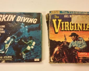 Vintage Skin Diving #664 and The Virganian 8mm Castle Films in Box Complete Edition, 1950's