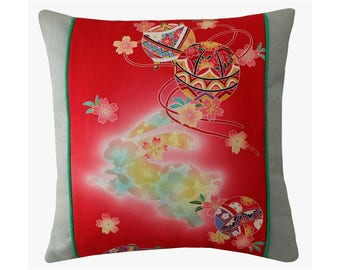 "Red Green Japanese silk Pillow Cover, Rabbit Pillow, Cherry Blossoms Kimono Cushion, Colourful Oriental Cushion, Cushion Cover 18x18"""