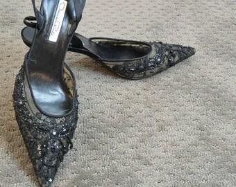Vintage Oscar De La Renta Shoes// Pointy Toe Designer Shoe// Vintage Goth 90s Shoes