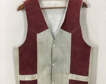 Vintage Suede Leather Sherpa Lined 2 Tone Vest Sz 40