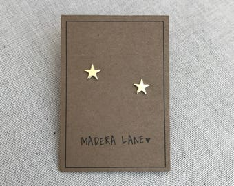 Tiny Star Stud Earrings in Gold with Sterling Silver Posts. Brass Star Earring Set. Boho Jewelry. Minimalist Earrings. Gift Under 15.