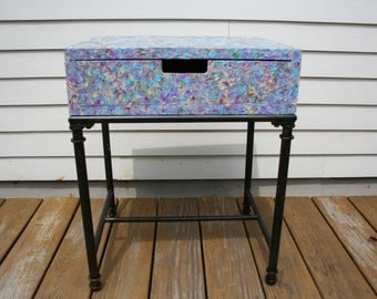 Multi colored, hand painted, side table, end table, night table,