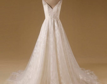 Sequin A Line Tulle Wedding Dress