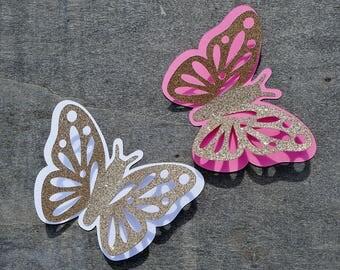 3d butterflies, 12 pcs, 3d Glitter butterfly, 3d Paper butterflies, Butterfly party decorations, 3d butterfly wall decor, Butterfly cut outs