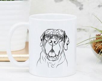 Tufton the English Mastiff - Gifts For Dog Owner, Dog Lover, Dog Mug, Dog Mug, Dog Wearing Glasses, Cool Dog Mug