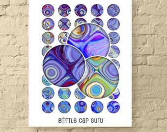 PURPLE SWIRLS 1 Inch Circles / Round Digital Collage Sheet Crafts / Abstract Colorful Pattern Bottle Cap Images / Printable images DOWNLOAD