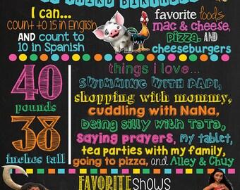 Moana Birthday Chalkboard Poster DIGITAL FILE