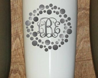 Personalized Powder Coated Tumbler (Mug). Laser Engraved Dot Circle Vine Monogram. Choose from 22 tumbler colors. Perfect for gift giving.