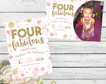 Four & Fabulous 4th Birthday invitation - Girls Pink and Gold glitter DIY Printing ***Digital File*** (Four-FABPOLKA2017)