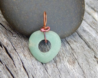 Heart necklace, wire wrapped heart, simple pendant, unique gift, gemstone heart, green aventurine, wire wrapped pendant, heart pendant