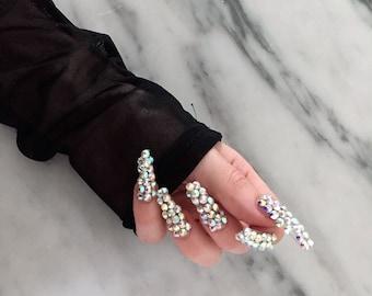 Crystal Encrusted Press on nails, set of ten swarvoski crystal nails