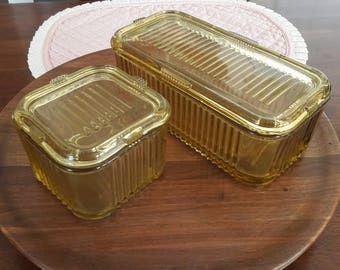 Vintage Amber Ribbed Glass Rectangular Loaf Refrigerator Dishes W/ Lid (2)