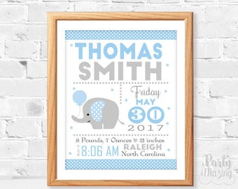 Baby Boy Elephant Printable Baby announcement, Birth Stats, Birth stats, Elephant Nursery ,Instant Download -D371 BBEB1