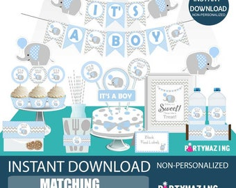 Boy Baby Blue Elephant Baby Shower Set, Printable EXPRESS Party Package, Party Decoration Kit, Instant Download -D804 BBEB1 BBEB2