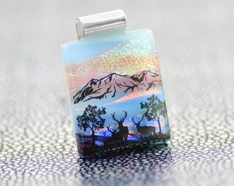 Fused Glass Landscape Pendant-Dichroic Glass Pendant with Stags and Mountains Scene-Fused Glass Jewellery-Dichroic Jewelry JBT580