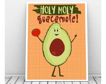 Holy Moly Guacamole, Instant Digital Download, Fruit, Avacado, Funny Art, Cute Saying, Tomato, Kids Art, Classroom Art, Kids Bedroom Decor