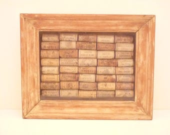Amazing Frame with old corks French Wine Grands Crus of Bordeaux / Kitchen Decor