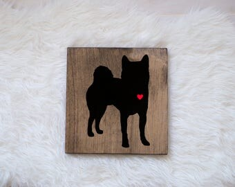 Hand Painted Shiba Inu Silhouette on Stained Wood, Dog Decor, Dog Painting, Gift for Dog People, New Puppy Gift, Housewarming Gift