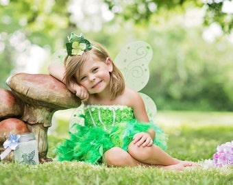 Fairy tutu dress, green fairy dress, spring fairy costume, green feather dress, green fairy dress, fairy birthday tutu feather dress
