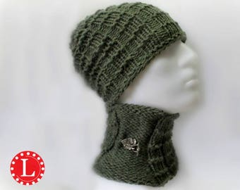 Loom Knitting Pattern Hat and Cowl for Men or Womens Slouchy Beanie Skull Cap Brimless with Video Tutorial