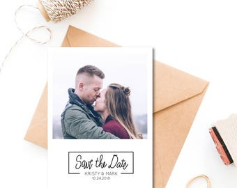 Save the Date Stamp, Wedding Stamp, Modern Save the Dates, Wedding Stamp With Names and Date, Custom Save the Date Stamp Style No. 74W