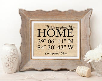 There's No Place Like Home Sign | Housewarming Gift First Home Gift | Home Coordinates Sign | House Warming Gift | GPS Coordinates Sign