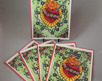 """5 Blank cards 5"""" X 7"""" with envelopes - """"Mary's Heart"""" - Print of an original watercolor painting -Christian greeting card"""