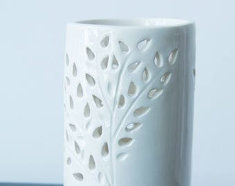 Fern White Ceramic Pierced Candleholder by Anita Murphy