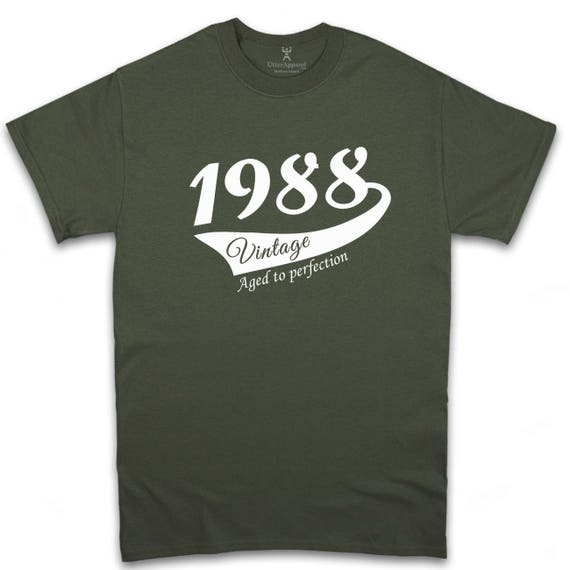 Born in 1988 vintage short sleeve military green t shirt for man Other years, colors available Sizes S-2XL