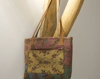Vintage handles leather tote