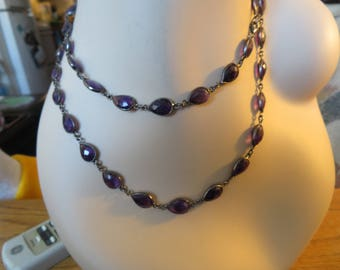 "Victorian ~~ 115ctw Rose Cut Genuine Amethyst 925 Sterling ""36"" Station Necklace, Weight 39.6 Grams"