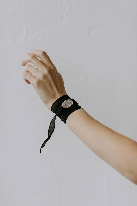 Druzy Silk Wrap Bracelet
