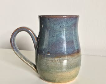 15 oz Handmade Mug / Wheel Thrown  / Olive Green / Blue / Purple / Red