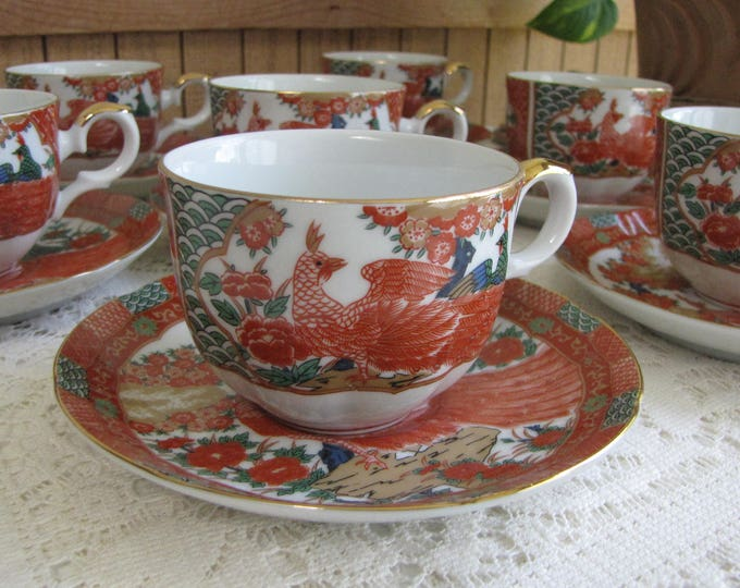 Imari Peacock by Arita Cups and Saucers Asian Tea Cup and Saucer Priced Individually Seven (7) Sets Available Chinoiserie