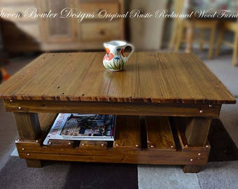 FREE UK SHIPPING Bespoke Country Cottage Style Rustic Reclaimed Wood Coffee Table 90 cm L x 60 cm W x 40 cm H with Under Shelf Storage
