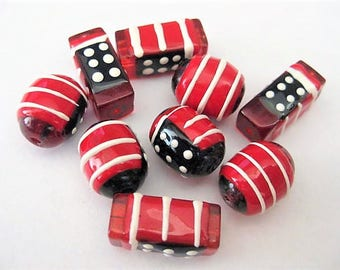 Jewelry Supplies ~ Glass Beads  Red White Blue  Flag   9 pc   16-20mm