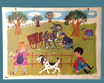 Vintage school poster - Fernand Nathan