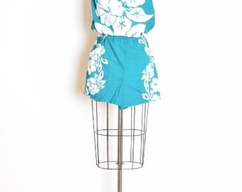 vintage 80s romper, hawaiian print romper, 80s playsuit, one piece, teal white, strapless romper, floral print romper, 80s clothing M medium