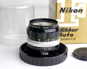 Nikon Nikkor O Auto 35mm F/2 Fast Prime Lens with Original Box, Bubble Case, Cap, for F Mount Nikon and Modern Mirrorless Cameras - Pristine
