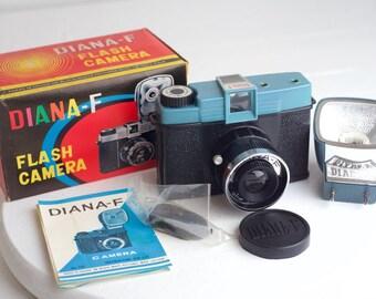 Diana F Flash 120 Medium Format Film Camera, Unused in Box with Flash, Strap, Lens Cap, and Manual