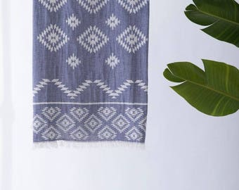 Turkish Towel Tribe | Navy Beach Towel Tribal Design Aztec Towel Free Shipping Cotton Towel Yoga Throw  Fouta Spa Towel TRT02