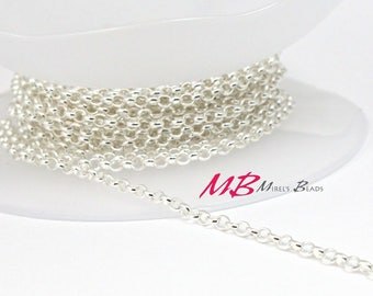 2.1mm Sterling Silver Chain, Rolo Chain, 3 Ft
