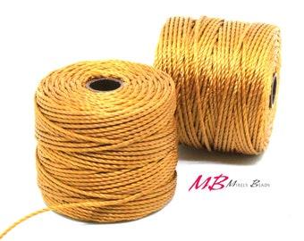Golden Yellow S-Lon Macrame Cord 77 Yards, Nylon Beading Cord .5 mm