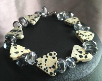 Dalmatian jasper & grey rock crystal quartz bracelet