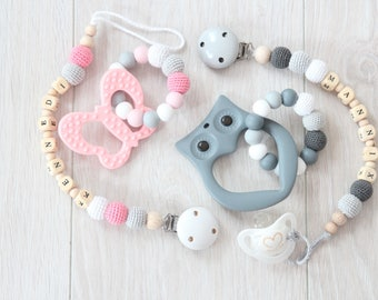 Personalized baby gift set - pacifier clip with teething toy - beads are safe for teething