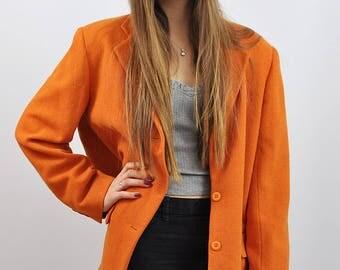 Vintage Burnt Orange Oversized Boyfriend Wool Blazer Jacket