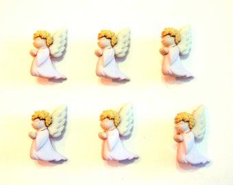 Praying Angel Buttons Jesse James Buttons Nativity Dress It Up Buttons Set of 6 Shank Back - 850B