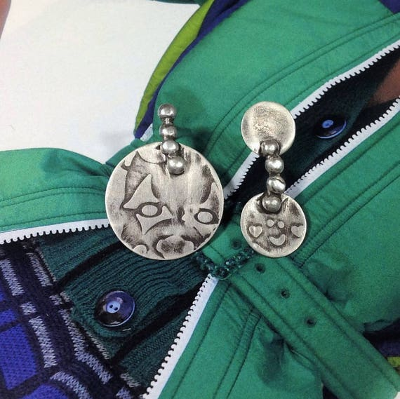 mismatched earrings | large statement earrings | oxidized jewelry | arty jewelry
