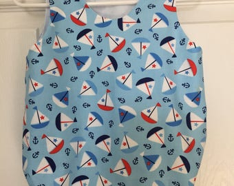 Infant boy romper, baby boy bubble suit, toddler sun suit.  Sail boat fabric.  Sizes 3-18 months.  Infant and children's clothing.