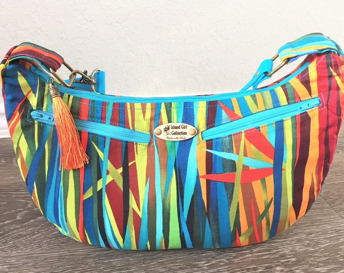 Featured listing image: Hobo Bag, Handbag, Sling Bag, Slouchy Bag, Tropical Bag, Large Purse in Vibrant Blades Print
